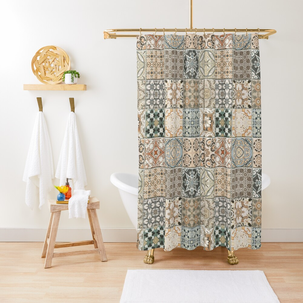 Traditional Farmhouse Rustic Moroccan Style Artwork  Shower Curtain