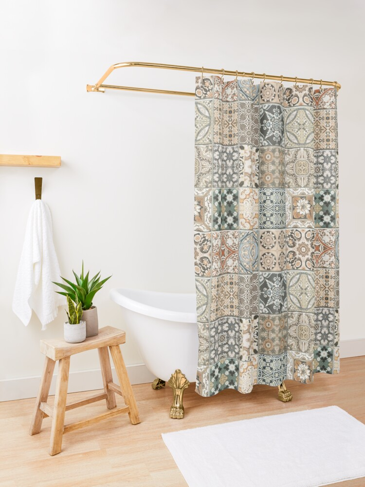 Alternate view of Traditional Farmhouse Rustic Moroccan Style Artwork  Shower Curtain