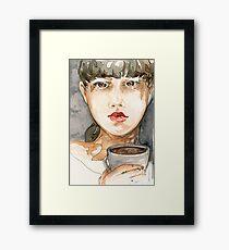 Random Watercolor Sketch of Girl Drinking Coffee Framed Print