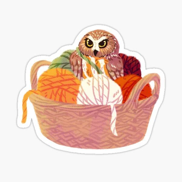Owl in yarn basket Sticker