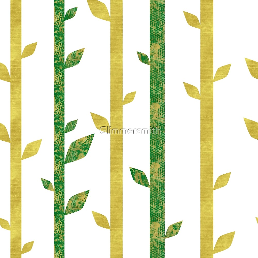 Abstract bamboo pattern, faux gold glitter, dark green by Glimmersmith