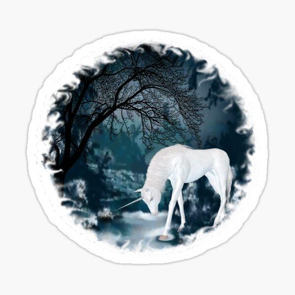 Fantasy White Unicorn in Forest Mythology Art Sticker