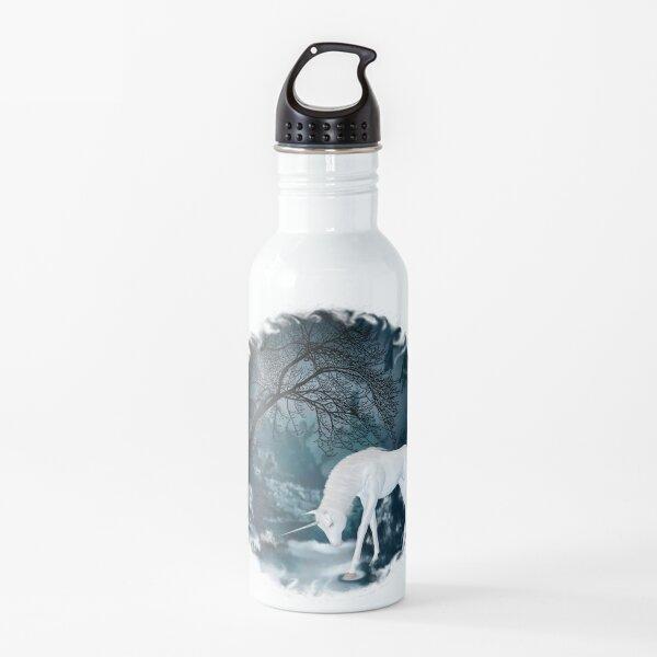 Fantasy White Unicorn in Forest Mythology Art Water Bottle