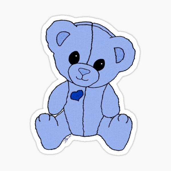 Cute Blue Valentine Heart Teddy Bear Baby Toy Sticker