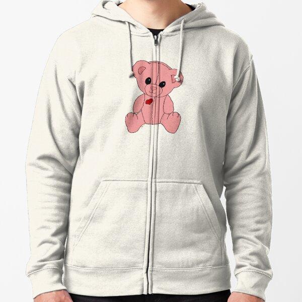 Cute Pink Valentine Heart Teddy Bear Baby Toy Zipped Hoodie