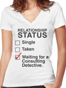 SINGLE TAKEN WAITING FOR A CONSULTING DETECTIVE Women's Fitted V-Neck T-Shirt