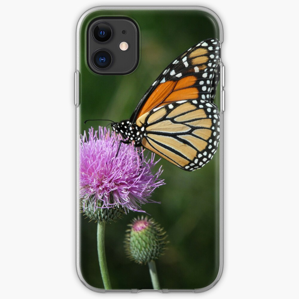 Monarch on Thistle - iPhone Case iPhone Soft Case