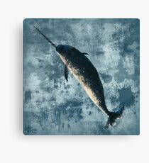 """""""Jackson the Narwhal"""" by Amber Marine ~ digital painting, art © 2015 Canvas Print"""