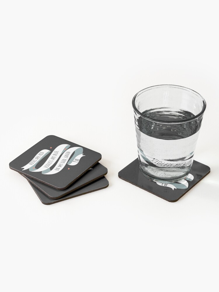 Alternate view of Roses are Red, Schitt's Creek Style. Roses are Red, Violets are Blue, Oh My God David, EW! Coasters (Set of 4)