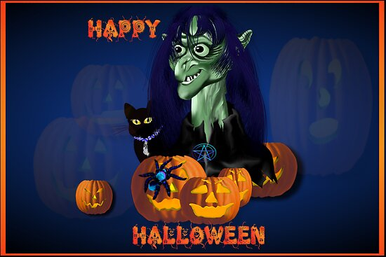 Green Witch, Black Cat, Blue Spider and Orange Pumpkins Lettered Poster by Lotacats