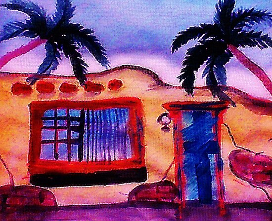 A old stucco house breaking down, watercolor by Anna  Lewis, blind artist