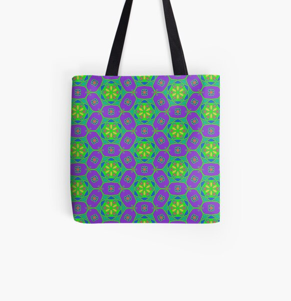 Neon kaleidoscope flower chains - purple and green  All Over Print Tote Bag