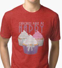 Cupcakes Make Me Happy Tri-blend T-Shirt