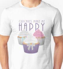 Cupcakes Make Me Happy Unisex T-Shirt