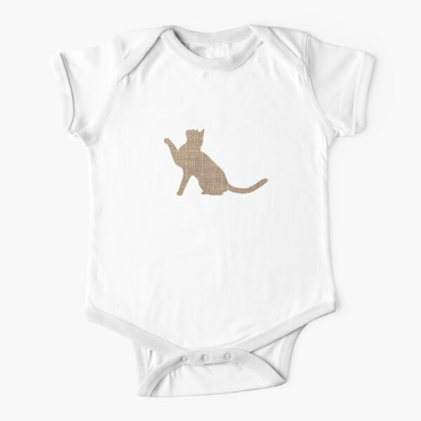 Burlap look  cat silhouette  Short Sleeve Baby One-Piece
