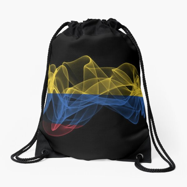 Colombia Smoke Flag on Black Background, Colombia flag Drawstring Bag
