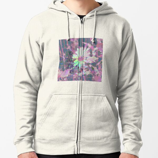 Floral abstraction Zipped Hoodie
