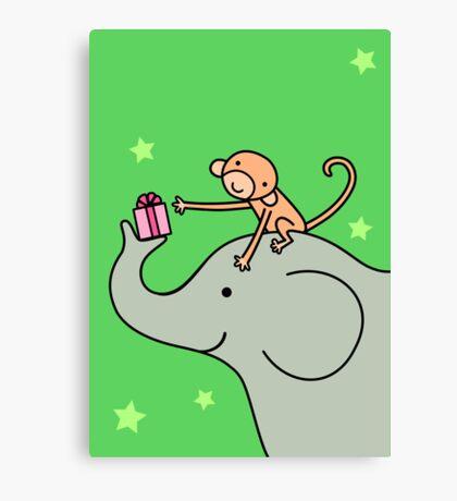 Birthday Monkey and Elephant Friend  Canvas Print