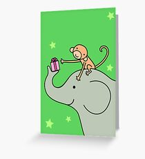 Birthday Monkey and Elephant Friend  Greeting Card