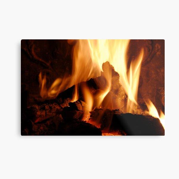 Log fire in chimney Metal Print