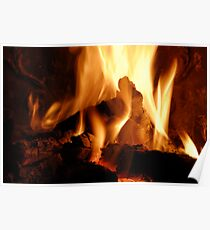 Log fire in chimney Poster