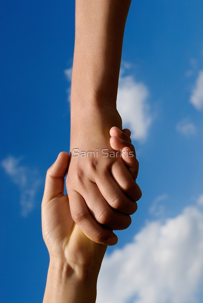 Two children holding hands by Sami Sarkis