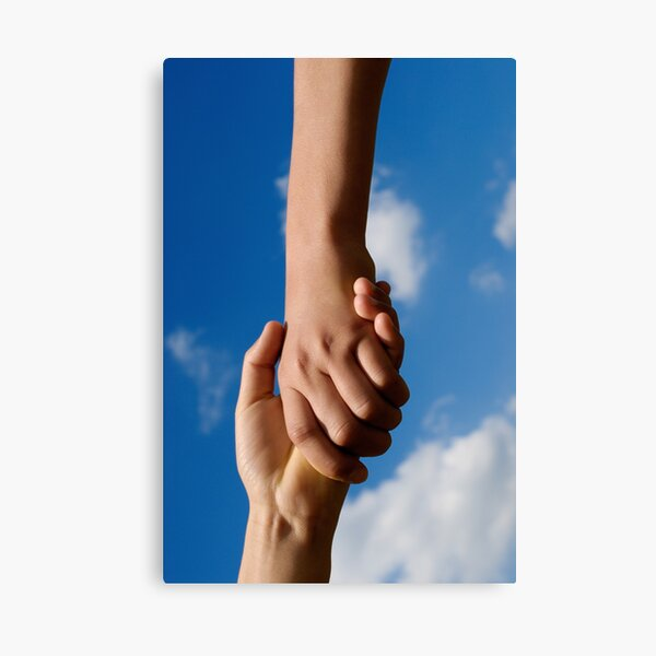 Two children holding hands Canvas Print