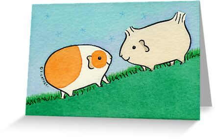 Two Guinea-pigs on a Hill  by Zoe Lathey