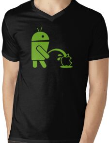 Android Peeing On Apple Cool Mens V-Neck T-Shirt