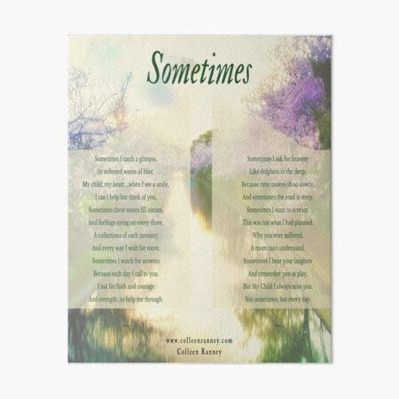 Sometimes Poem (Child Loss) by Colleen Ranney Art Board Print