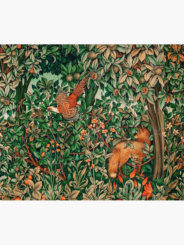 GREENERY, FOREST ANIMALS Pheasant and Fox Red Blue Green Floral Tapestry by BulganLumini