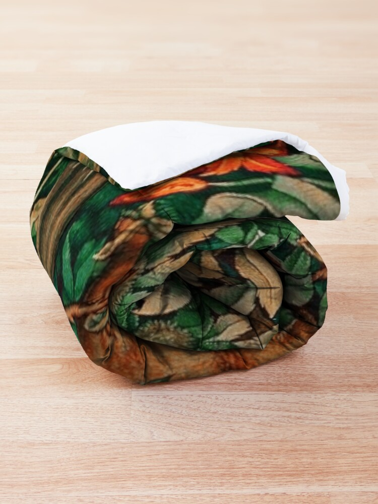 Alternate view of GREENERY, FOREST ANIMALS Pheasant and Fox Red Blue Green Floral Tapestry Comforter