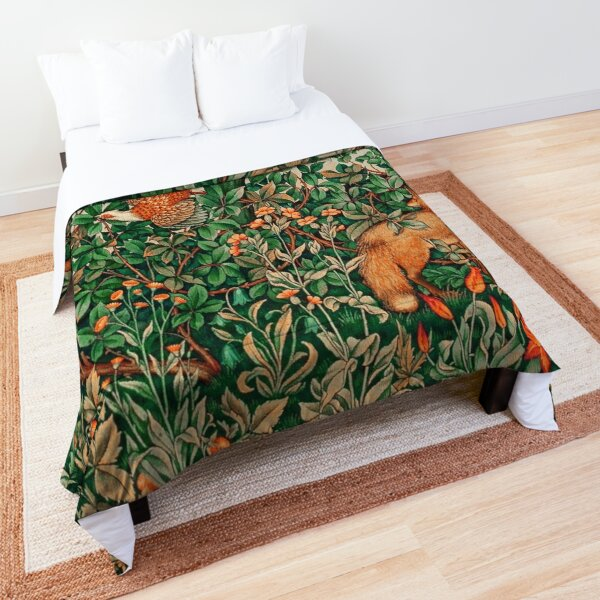 GREENERY, FOREST ANIMALS Pheasant and Fox Red Blue Green Floral Tapestry Comforter