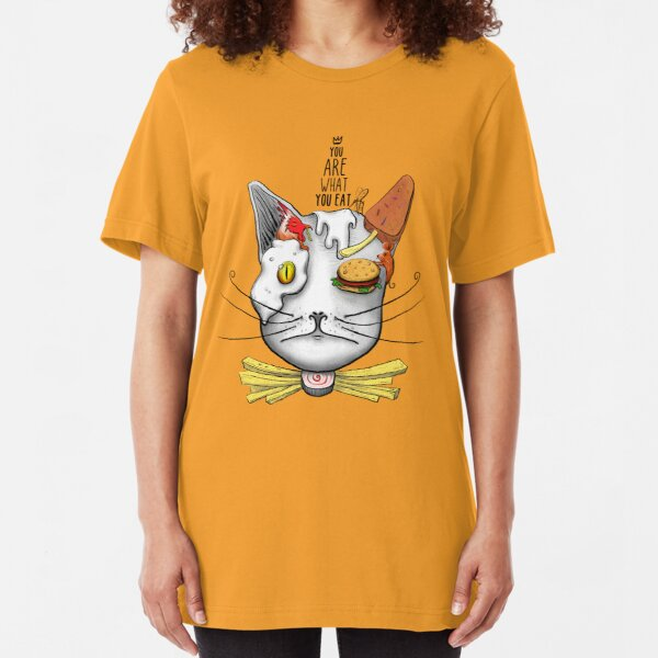 Fast Food Lover Cat Funny Face Slim Fit T-Shirt