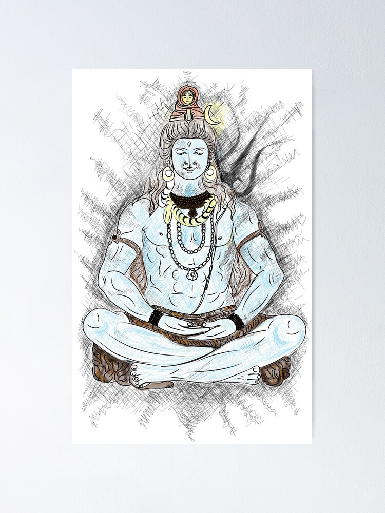 Lord Shiva T Shirt Lord Shiva Sketch T Shirt Poster By