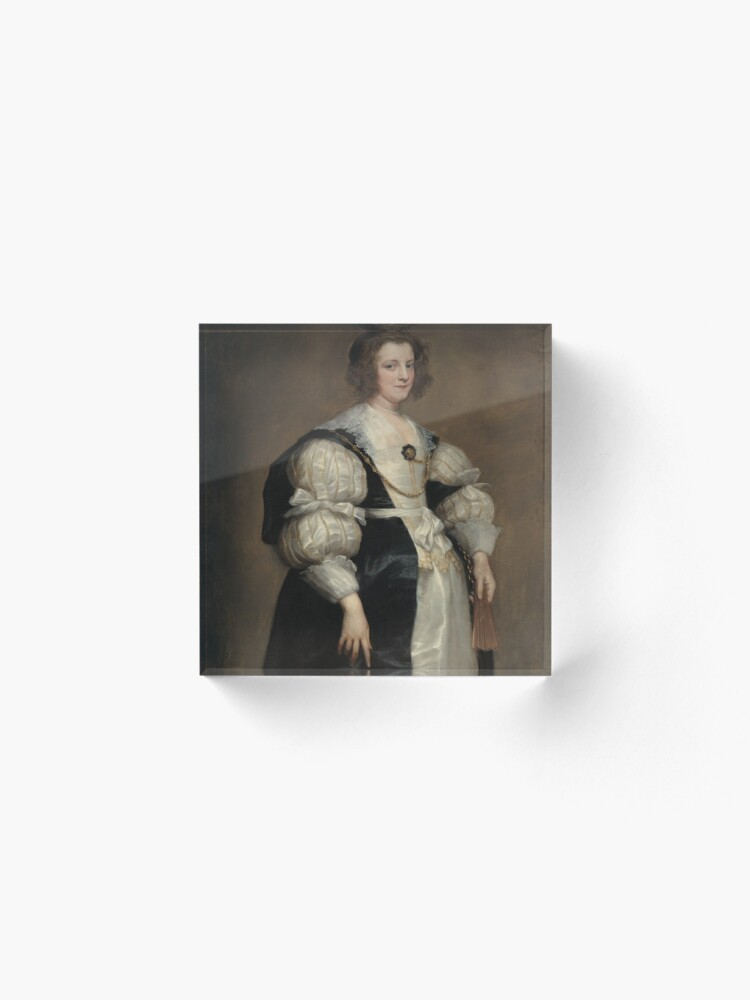 Alternate view of  Lady with a Fan Oil Painting by Sir Anthony van Dyck Acrylic Block