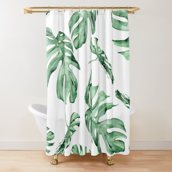 Monstera Pattern Green Shower Curtain