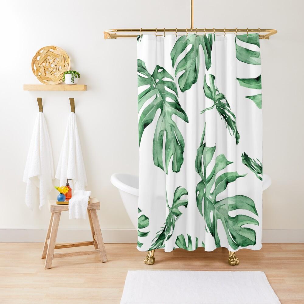 Monstera Pattern Green Shower Curtain