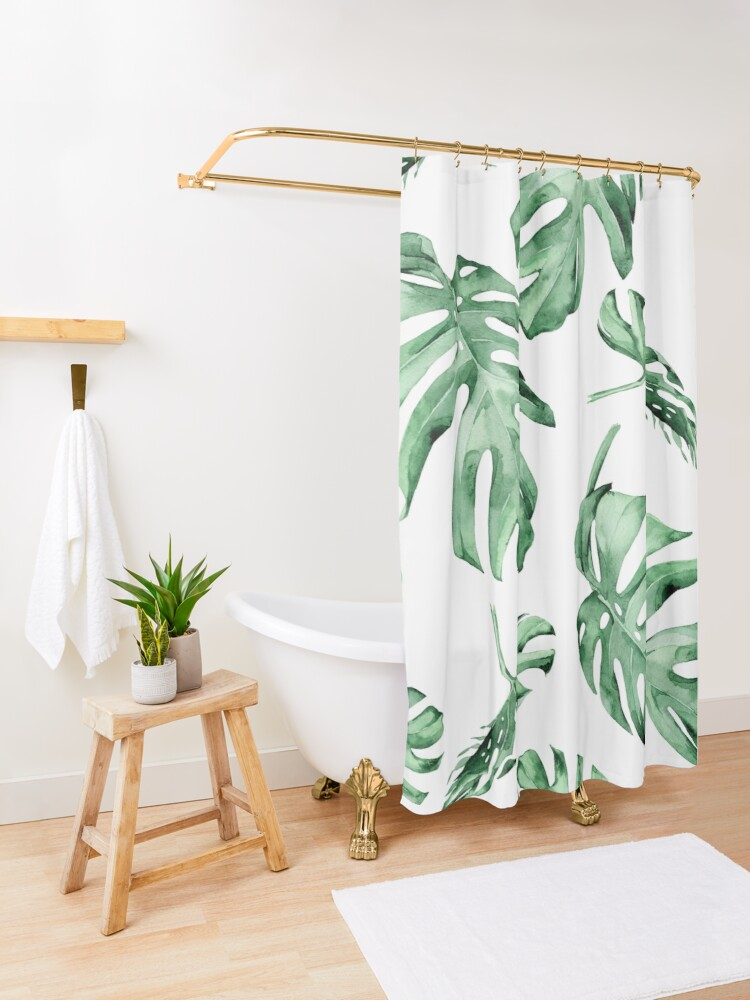 Alternate view of Monstera Pattern Green Shower Curtain