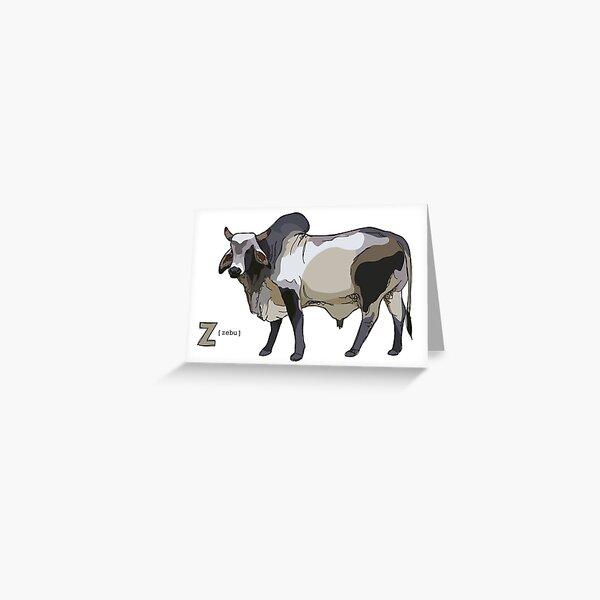 Funky Animal Alphabet: Z is for Zebu Greeting Card