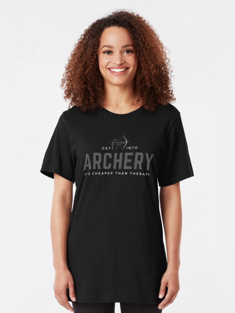 Alternate view of Get Into Archery. It's Cheaper Than Therapy. Funny sports meme. Perfect gift for archery enthusiasts. Slim Fit T-Shirt