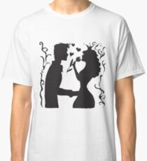 Hand drawn sketch black and white silhouette a princess with a tulip and a prince. Classic T-Shirt