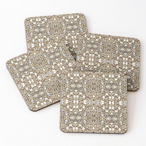 jewelry gemstone silver crystal champagne gold rhinestone Coasters (Set of 4)