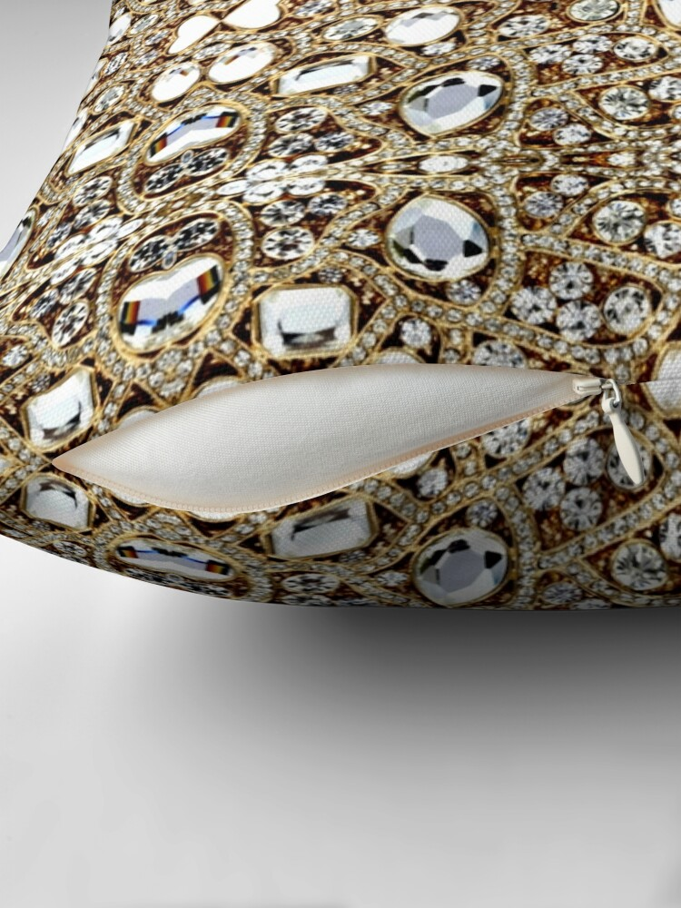 Alternate view of jewelry gemstone silver crystal champagne gold rhinestone Throw Pillow