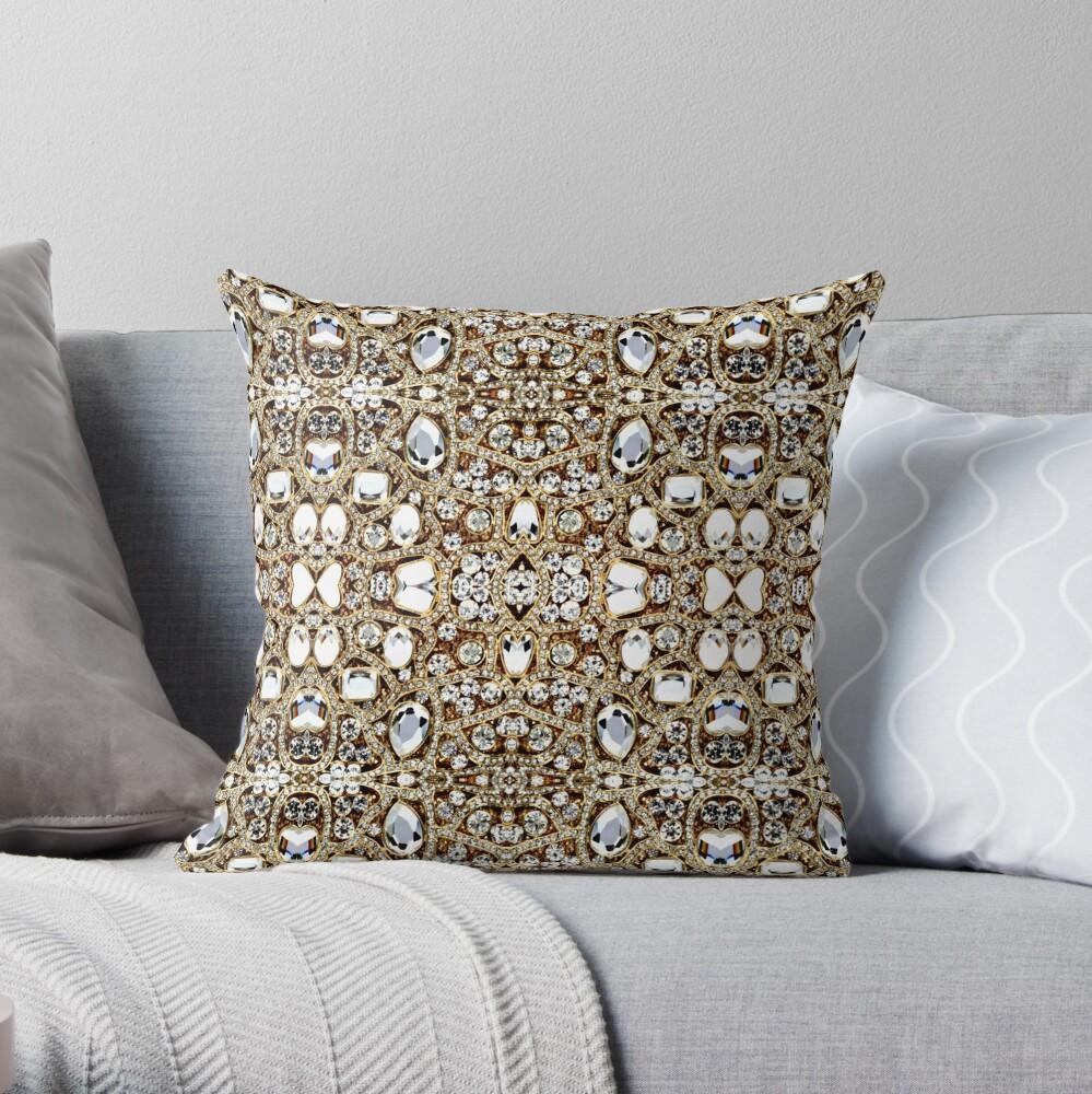 jewelry gemstone silver crystal champagne gold rhinestone Throw Pillow