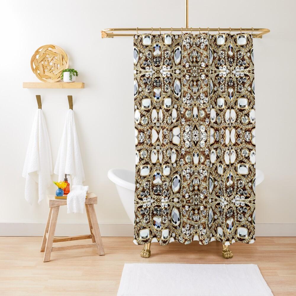 jewelry gemstone silver crystal champagne gold rhinestone Shower Curtain