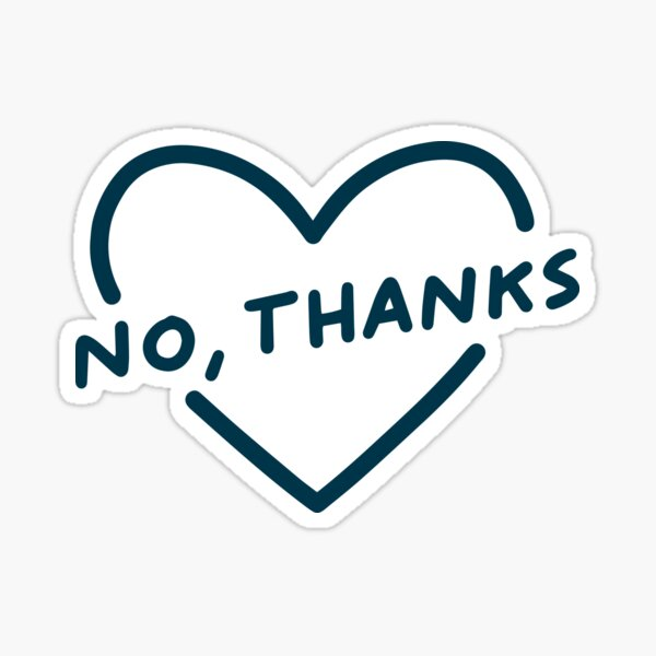 No Thanks Heart blue - Feminist Sticker