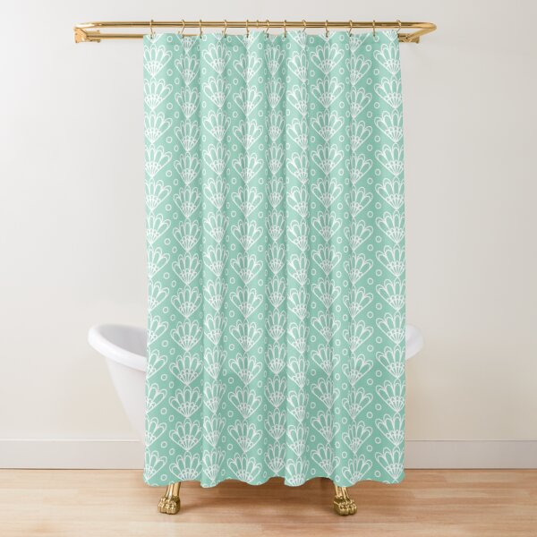 Aqua menthe art deco seashell pattern Shower Curtain