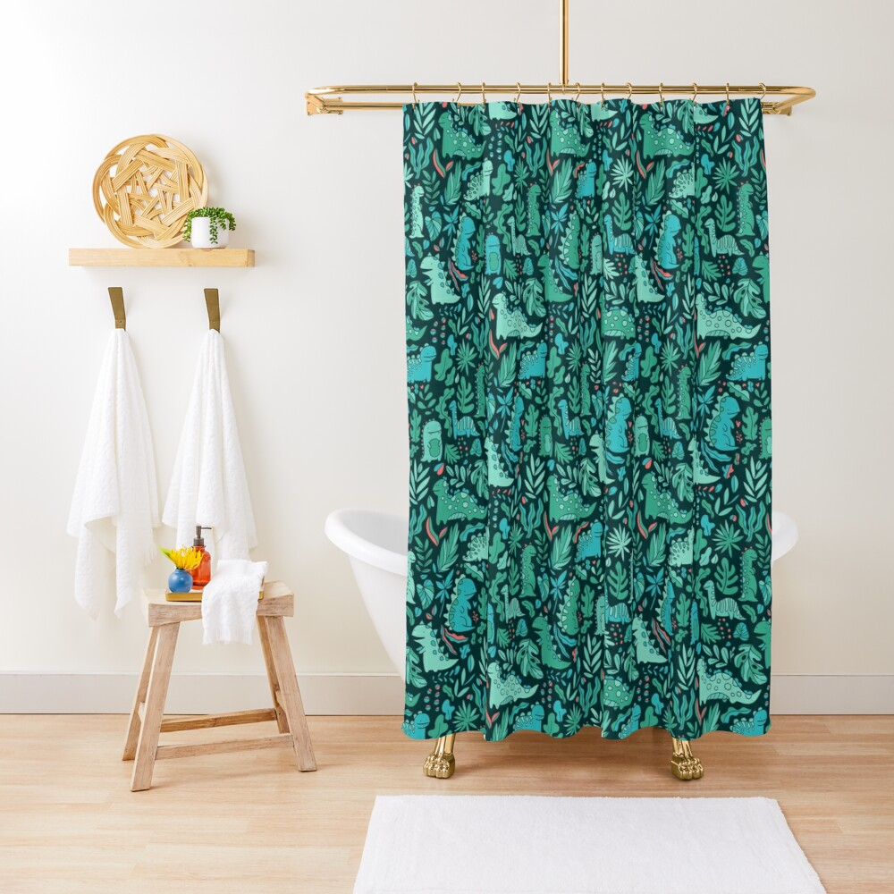 Cute dinosaurs and tropical leaves Shower Curtain