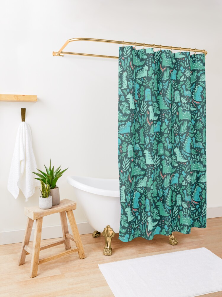 Alternate view of Cute dinosaurs and tropical leaves Shower Curtain
